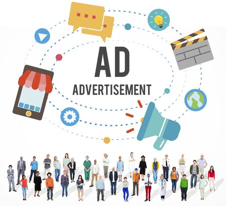 Ad Advertisement Marketing Commercial Concept Stock Photo
