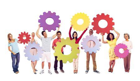 engranes: Concepto Colaboración personas diente engranaje equipo equipo
