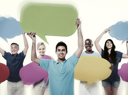 사람들의 커뮤니케이션 스피치 소셜 네트워크의 개념 스톡 콘텐츠