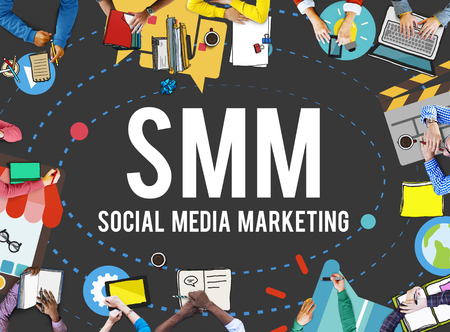 corporate social: Social Media Marketing Online Business Concept Stock Photo