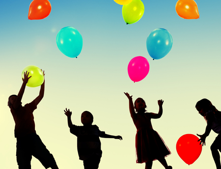 kids party: Children Kids Playing Balloons Innocence Concept