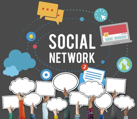 arms outstretched: Social Media Network Online Internet Concept