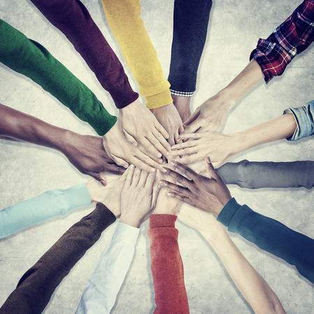 unity: People Hands Together Unity Team Cooperation Concept Stock Photo