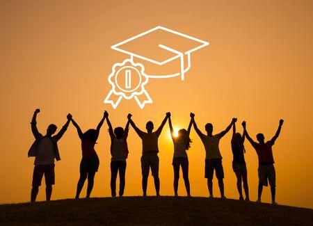 学業卒業帽子な教育概念 写真素材