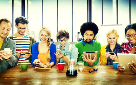 Diverse People Digital Devices Wireless Communication Concept Stok Fotoğraf