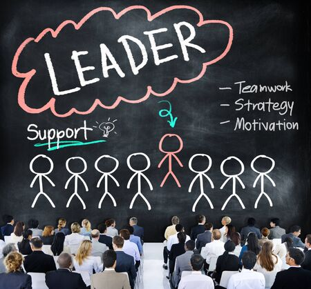 business leadership: Leader Support Teamwork Strategy Motivation Concept