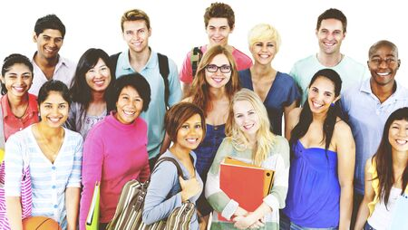 mixed age: Students College University Education Group Concept Stock Photo