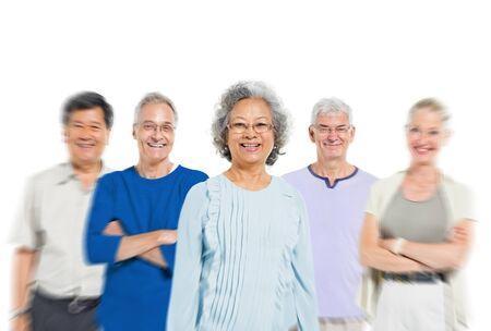 community people: Mullti-ethnic senior group of people Stock Photo