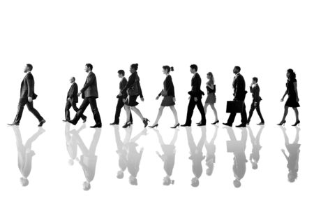 rushing hour: Business People Corporate Walking Team Concept
