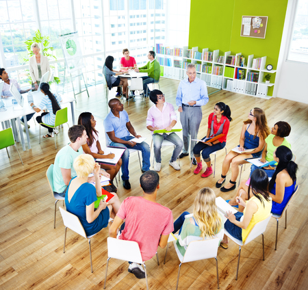 College Students Learning Education University Teaching Concept Stock Photo