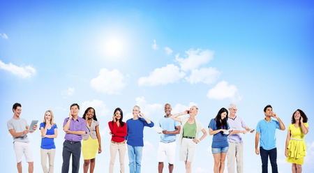 Multi-Ethnic People Social Networking Outdoor Concept
