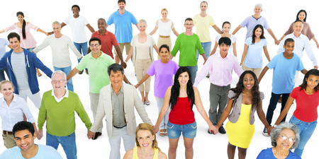 families together: Diverse Group People Kids Holding Hands Concept Stock Photo