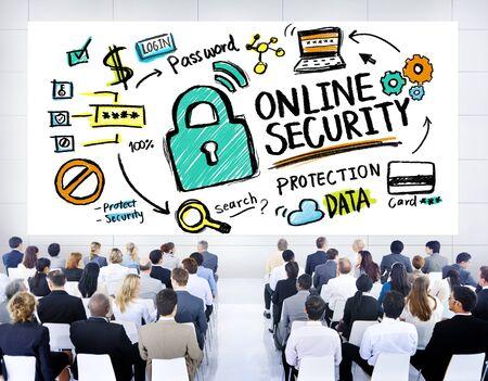 オンライン セキュリティの保護インターネット安全ビジネス セミナー コンセプト 写真素材