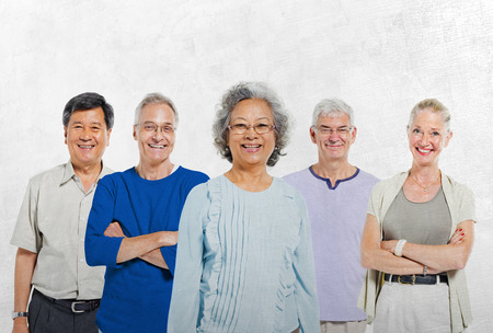 old people group: Mullti-ethnic senior group of people Stock Photo
