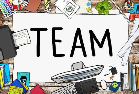office stuff: Team Corporate Teamwork Collaboration Assistance Concept Stock Photo