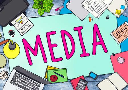 printer drawing: Media Advertising Information Multimedia Sharing Concept Stock Photo
