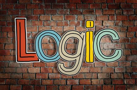 single word: Logic Brick wall Single Word Text Background Clean Concept Stock Photo