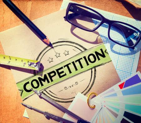competition: Competencia Competitivo Concepto Carrera Desafío Concurso Foto de archivo