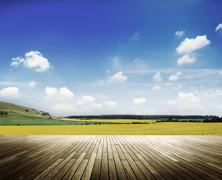 Environment Peaceful Meadow Countryside Cloudscape Concept Stock Photo