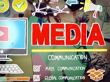 mess: Media Devices Mess Communication Multimedia Concept Stock Photo
