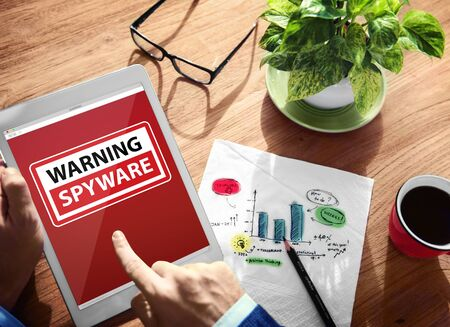 spyware: Digital Device Wireless Browsing Warning Spyware Concept