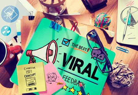 Viral Marketing Spread-Bewertung Ereignis Feedback-Konzept Standard-Bild