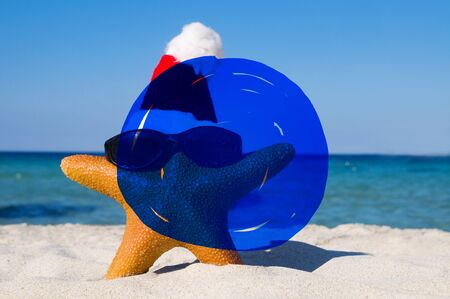 christmas tide: Vacation Summer Holidays Blue Marker COncept