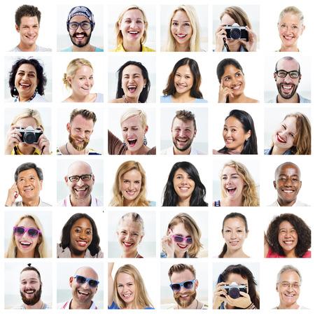 Collage Diverse Faces Expressions People Concept Foto de archivo
