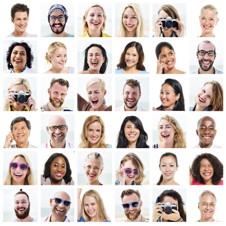 mature people: Collage Diverse Faces Expressions People Concept Stock Photo