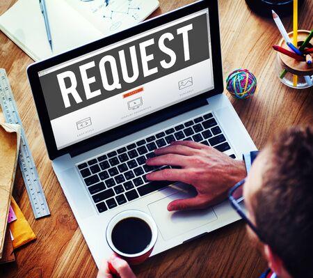 require: Request Require Desire Need Order Demand Concept Stock Photo