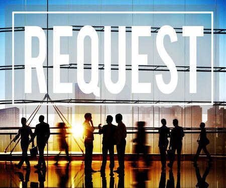 in demand: Request Require Desire Need Order Demand Concept Stock Photo