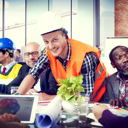professional occupation: Construction Worker Professional Occupation Planning Working Concept Stock Photo