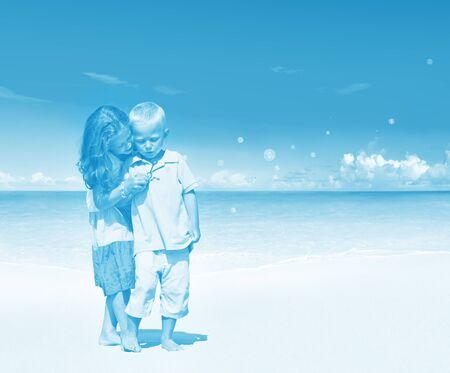 enjoyment: Summer Beach Family Fun Enjoyment Children Concept