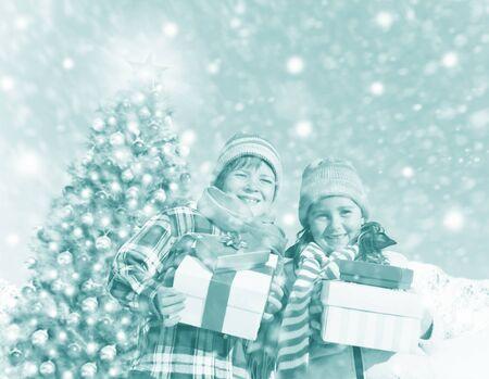 best travel destinations: Children Christmas Winter Holidays Celebration Concept