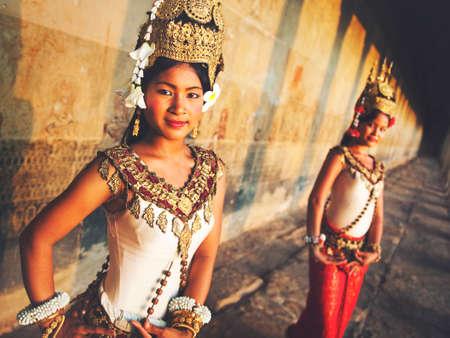 reap: Traditional Aspara Dancers Siem Reap Cambodia Concept Stock Photo