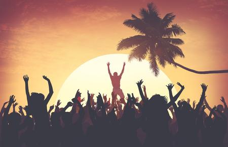 recreational pursuit: Beach Summer Music Concert Outdoors Recreational Pursuit Concept Stock Photo