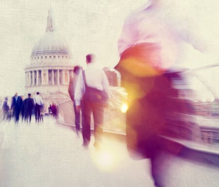 People Rushing in London Walking Commuter Concept