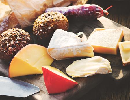 appetiser: Cheese Platter Variety Appetiser Bread Concept Stock Photo