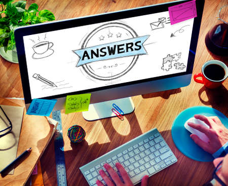 suggestion: Answers Explanation Question Opinion Suggestion Concept Stock Photo