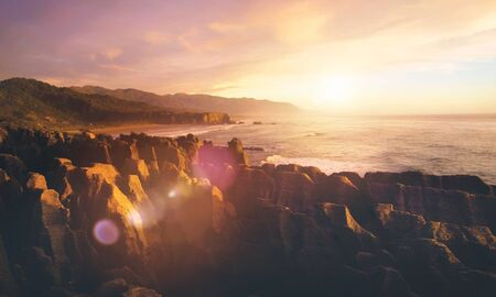 new zealand beach: Coastline Punakaiki New Zealand Destination Concept