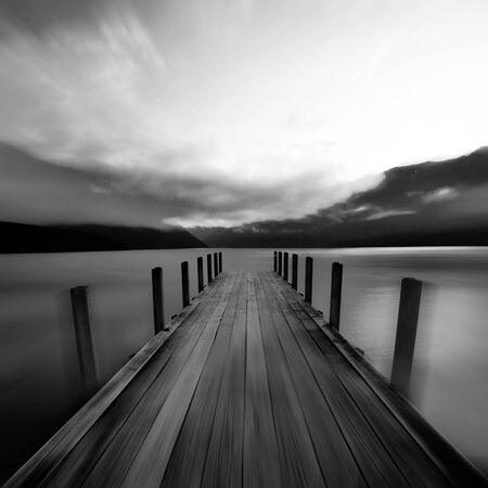 silence: Tranquil Peaceful Lake at Sunrise New Zealand Concept Stock Photo