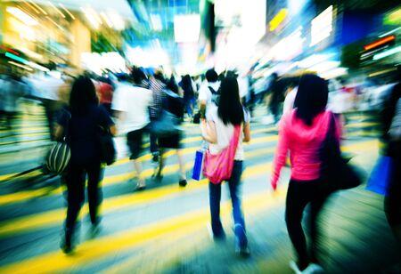 consumerism: Pedestrain Walkway Crosswalk Crowded Consumerism Concept