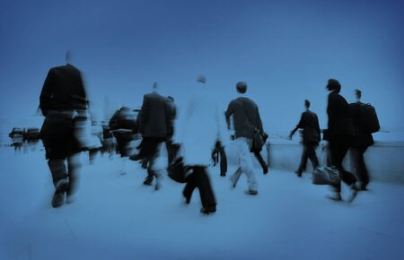 hurrying: People Rushing Work Commuter Hurrying Crowd Concept