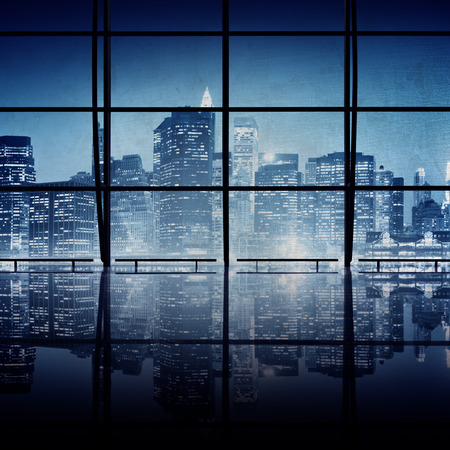 looking through window: Modern NYC Interior Architecture Night Scene Concept Stock Photo
