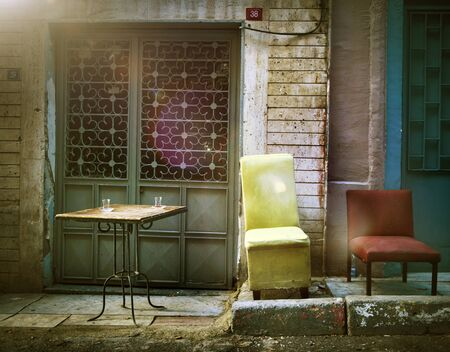 messy house: Street Turkey Dirty Messy Grunge House Chairs Concept Stock Photo