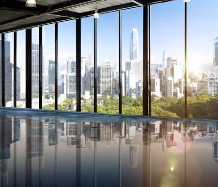 Städtisches Motiv Skyline Morning View Metropolis-Konzept