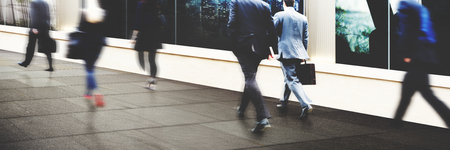 hurrying: Business People Commuter Walking Travel Crowd Concept