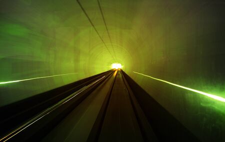 diminishing perspective: Shanghai light dispaly tunnel Long exposure concept