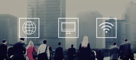 man rear view: Global Worldwide Digital Modern Connection Concept