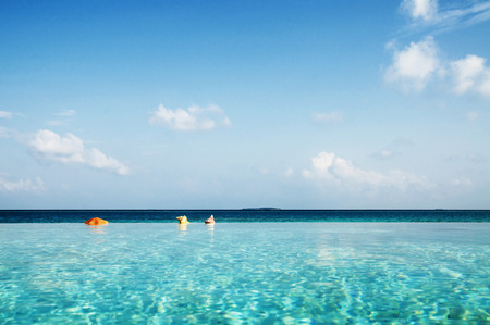 turqoise: Infinity Pool in Maldives Beauty In Nature Concept Stock Photo